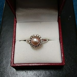PEARL RING SET IN STERLING SILVER WITH GEMSTONES